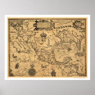 Mapa clásico 1600 de América Póster