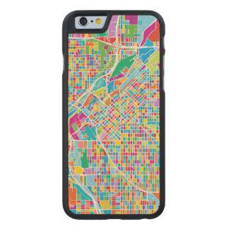 Mapa colorido de Denver Funda De iPhone 6 Carved® Slim De Arce