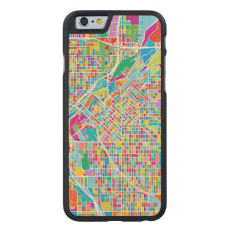 Mapa colorido de Denver Funda Fina De Arce Para iPhone 6 De Carved