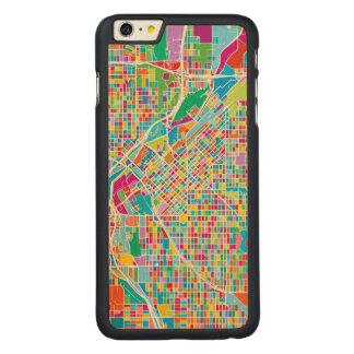 Mapa colorido de Denver Funda Fina De Arce Para iPhone 6 Plus De Carved
