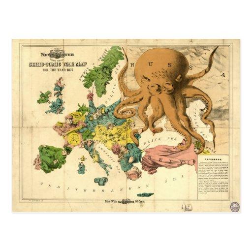 Mapa cómico de la guerra de Serio del vintage por  Postal