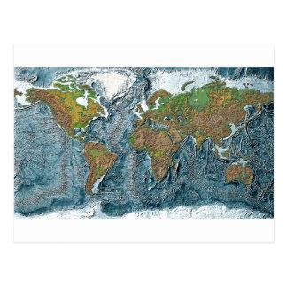 Mapa de alivio de la tierra tarjetas postales