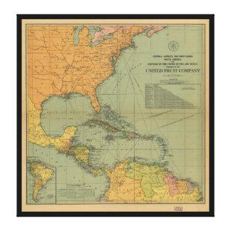 Mapa de America Central y de Surroundings (1909) Impresión En Lienzo