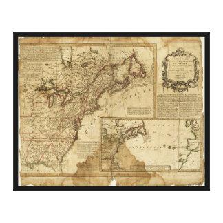 Mapa de América temprana (1780) Impresión En Lienzo
