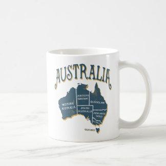 Mapa de Australia de la apariencia vintage Taza De Café