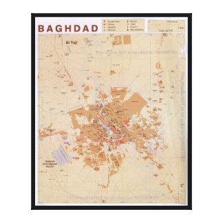 Mapa de Bagdad, Iraq (2003) Impresión En Lienzo
