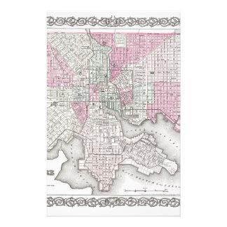 Mapa de Baltimore Maryland Papelería Personalizada