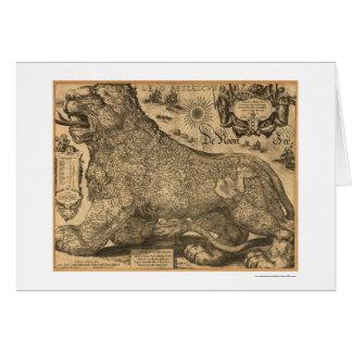 Mapa de Benelux Leo Belgicus de Europa 1611 Tarjeta