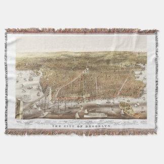 Mapa de Brooklyn NY en 1879 Manta Tejida