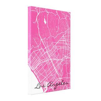 Mapa de calle rosado de Los Ángeles Lienzo Envuelto Para Galerías