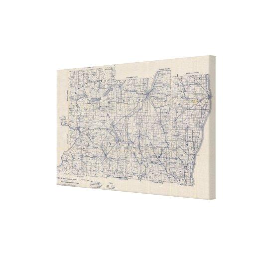 Mapa de camino de la bicicleta de Wisconsin 2 Impresiones En Lona