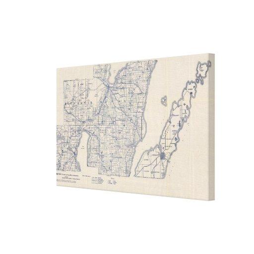 Mapa de camino de la bicicleta de Wisconsin 3 Lona Estirada Galerías