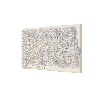 Mapa de camino de la bicicleta de Wisconsin Impresion De Lienzo
