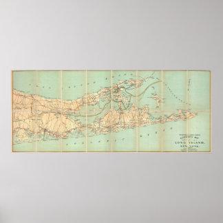 Mapa de camino del vintage de Long Island (1905) Póster