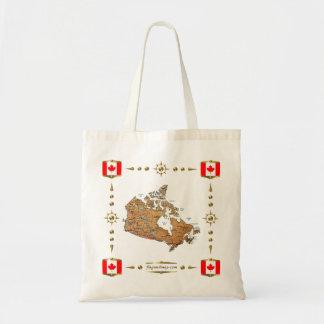 Mapa de Canadá + Bolso de las banderas