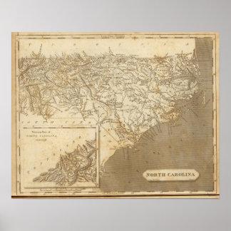 Mapa de Carolina del Norte por Arrowsmith Póster