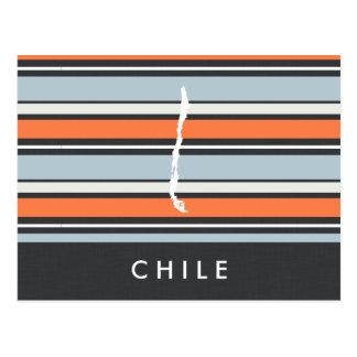 Mapa de Chile: Rayas modernas Postal