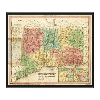 Mapa de Connecticut (1834) Impresión En Lienzo