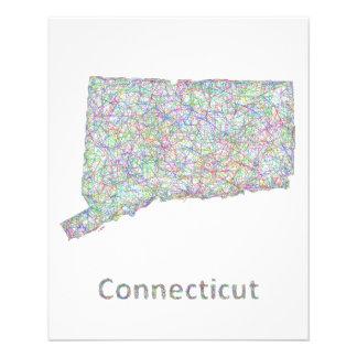 Mapa de Connecticut Folleto 11,4 X 14,2 Cm