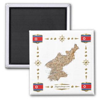 Mapa de Corea del Norte  + Imán de las banderas