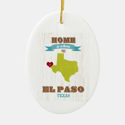Mapa de El Paso, Tejas - casero es donde está el c Adorno De Navidad