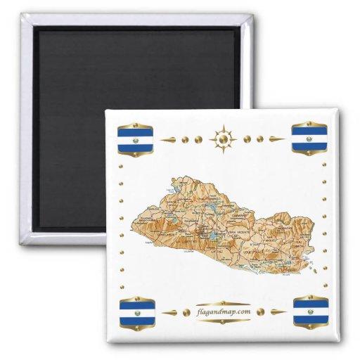 Mapa de El Salvador + Imán de las banderas