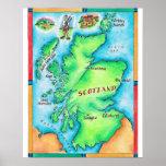 Mapa de Escocia Impresiones