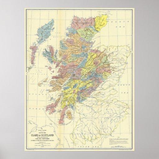 Mapa de Escocia que muestra en 1899 a los clanes Póster
