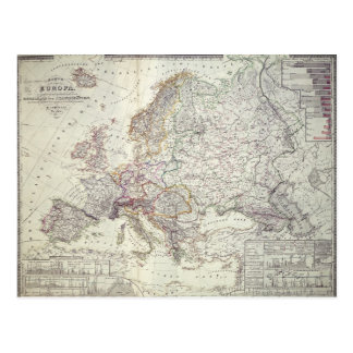 Mapa de Europa, 1841 Postal