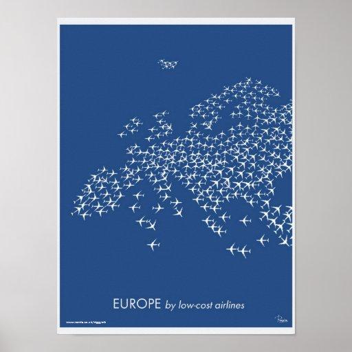 Mapa de Europa por las líneas aéreas baratas Impresiones