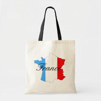 Mapa de Francia en blanco y azul rojos Bolso De Tela