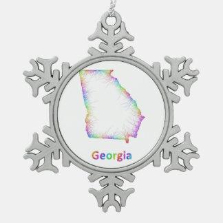 Mapa de Georgia del arco iris Adorno De Peltre En Forma De Copo De Nieve