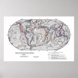 Mapa de Gobal de la tectónica de placas de la lito Póster