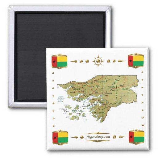 Mapa de Guinea-Bissau + Imán de las banderas