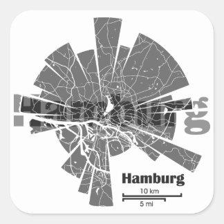 Mapa de Hamburgo Pegatina Cuadrada