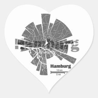 Mapa de Hamburgo Pegatina En Forma De Corazón