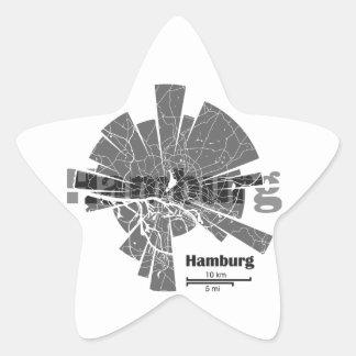 Mapa de Hamburgo Pegatina En Forma De Estrella