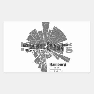 Mapa de Hamburgo Pegatina Rectangular