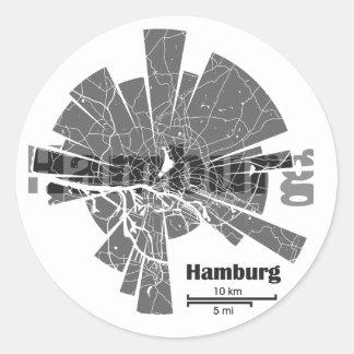 Mapa de Hamburgo Pegatina Redonda