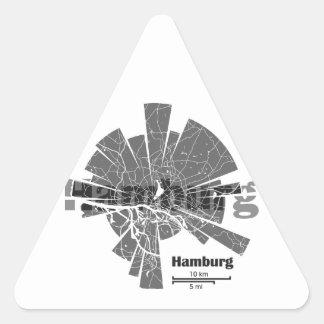 Mapa de Hamburgo Pegatina Triangular
