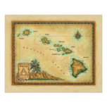 Mapa de Hawaii, tamaños 1 Posters