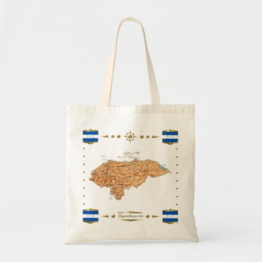 Mapa de Honduras + Bolso de las banderas Bolsas De Mano