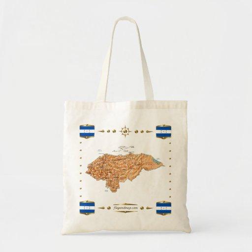 Mapa de Honduras + Bolso de las banderas Bolsa Tela Barata