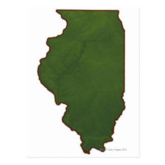Mapa de Illinois 2 Tarjeta Postal
