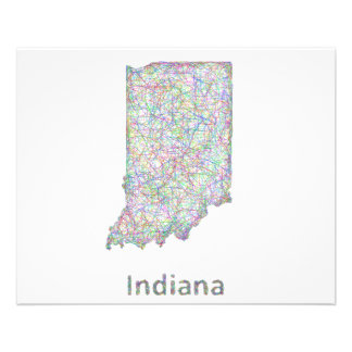 Mapa de Indiana Folleto 11,4 X 14,2 Cm