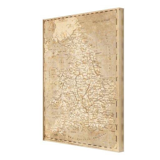 Mapa de Inglaterra, País de Gales por Arrowsmith Lona Envuelta Para Galerías