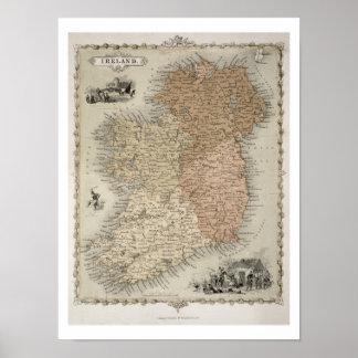 Mapa de Irlanda, c.1850 publicado (en mano-colorea Póster