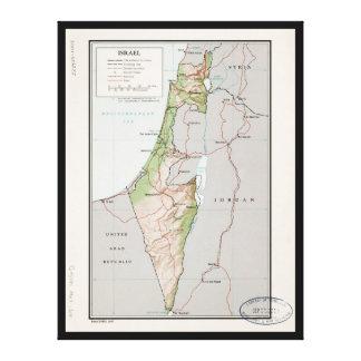 Mapa de Israel (1967) Impresión En Lienzo