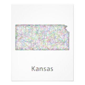 Mapa de Kansas Folleto 11,4 X 14,2 Cm