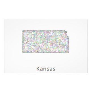 Mapa de Kansas Folleto 14 X 21,6 Cm